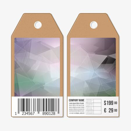 sides: Vector tags design on both sides, cardboard sale labels with barcode. Polygonal design, geometric triangular backgrounds.