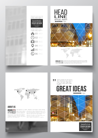 architecture design: Set of business templates for brochure, magazine, flyer, booklet or annual report. Colorful polygonal background, blurred image, night city landscape, modern stylish triangular vector texture.