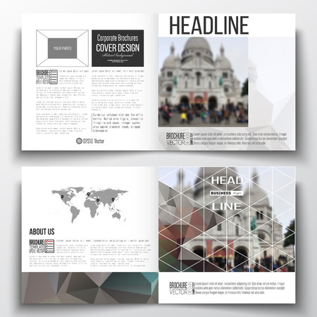 montmartre: Vector set of square design brochure template. Polygonal background, blurred image, view of cathedral Sakre-Ker, Paris cityscape, modern triangular vector texture.