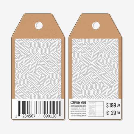 both sides: Vector tags design on both sides, cardboard sale labels with barcode. Geometric pattern with strokes. Simple abstract monochrome vector texture.