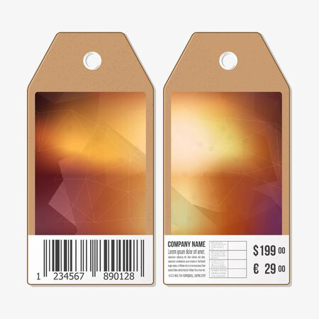 both sides: Vector tags design on both sides, cardboard sale labels with barcode. Polygonal design, geometric triangular backgrounds.