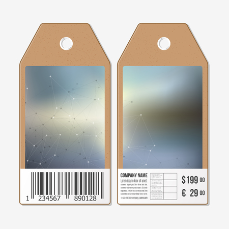 sides: Vector tags design on both sides, cardboard sale labels with barcode. Blurred background. Abstract vector illustration.
