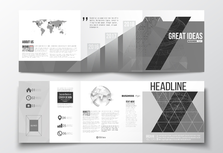 circuitos electricos: Vector set of tri-fold brochures, square design templates. Microchip background, electrical circuits, construction with connected lines, scientific or digital design pattern on gray background. Vectores