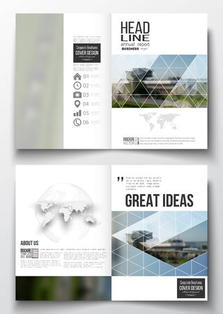Set of business templates for brochure, magazine, flyer, booklet or annual report. Colorful polygonal background, blurred image, airport landscape, modern stylish triangular vector texture.
