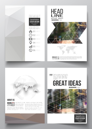 montmartre: Set of business templates for brochure, magazine,  booklet or annual report. Polygonal background, blurred image, urban landscape, street in Montmartre, Paris cityscape, modern texture.