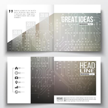 circuitos electricos: Conjunto de modelos de informes de gestión anuales para el folleto, revista, folleto o cuadernillo. fondo microchip, circuitos eléctricos, plantilla de la ciencia del diseño vectorial. Vectores