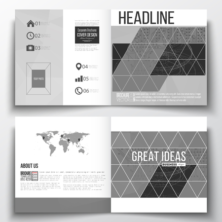 circuitos electricos: Vector set of square design brochure template. Microchip background, electrical circuits, construction with connected lines, scientific or digital design pattern, science design vector template.