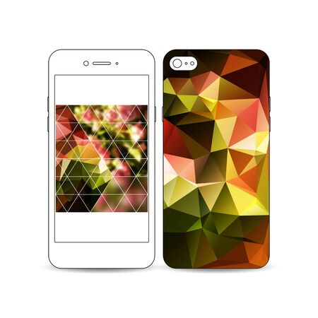floral decoration: Mobile smartphone with an example of the screen and cover design isolated on white background. Polygonal floral background, blurred image, blue flowers on green, triangular texture.