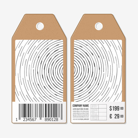both sides: Vector tags design on both sides, cardboard sale labels with barcode. Circular, rotating background, vector illustration.