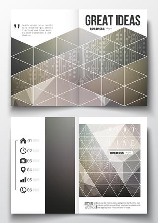 circuitos electricos: Conjunto de modelos de negocio para el folleto, revista, folleto, folleto o informe anual. fondo microchip, circuitos eléctricos, plantilla de la ciencia del diseño vectorial. Vectores
