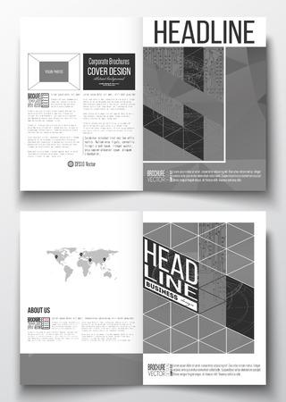 circuitos electricos: Conjunto de modelos de negocio para el folleto, revista, folleto, folleto o informe anual. fondo microchip, circuitos el�ctricos, construcci�n de l�neas conectadas, cient�fica o plantilla de dise�o digital Vectores