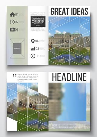 portadas de libros: Conjunto de modelos de negocio para el folleto, revista, folleto, folleto o informe anual. fondo poligonal, imagen borrosa, parque natural, moderno estilo vector de textura.