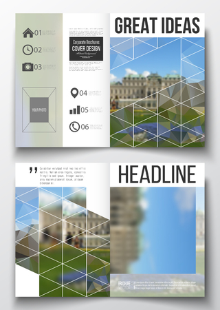 architecture design: Set of business templates for brochure, magazine, flyer, booklet or annual report. Polygonal background, blurred image, park landscape, modern stylish vector texture. Illustration