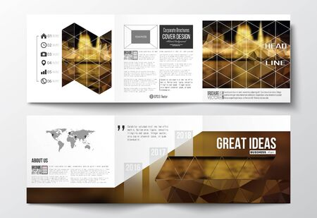 night city: Vector set of tri-fold brochures, square design templates with element of world map. Colorful polygonal background, blurred image, night city landscape, triangular vector texture.