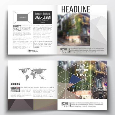 montmartre: Vector set of square design brochure template Polygonal background, blurred image, urban landscape, street in Montmartre, Paris cityscape, modern triangular vector texture
