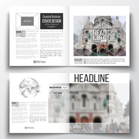 montmartre: Set of annual report business templates for brochure, magazine, flyer or booklet. Polygonal background, blurred image, view of cathedral Sakre-Ker, Paris cityscape, modern triangular vector texture Illustration