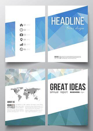 Conjunto de modelos de negocio para el folleto, revista, folleto, folleto o informe anual. Resumen de fondo azul poligonal, colorido telón de fondo, moderno estilo vector de textura.