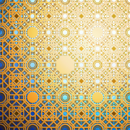 Islamic gold pattern with overlapping geometric square shapes forming abstract ornament. Vector stylish golden texture on black background.