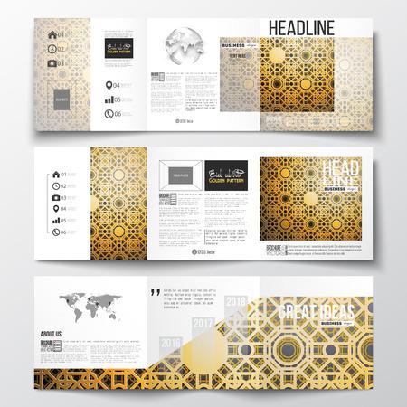 Set di opuscoli tri-fold, modelli di design quadrati. Islamic tessuto d'oro vettore, disegno geometrico, ornamento astratto, calligrafia araba che significa - Eid al Fitr - per la comunità musulmana.