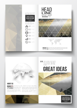 shipyard: Set of business templates for brochure, magazine, flyer, booklet or annual report. Colorful polygonal background with blurred image, seaport landscape, modern stylish triangular vector texture.