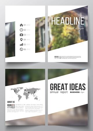 montmartre: Set of business templates for brochure, magazine, flyer, booklet or annual report. Blurred image, urban landscape, street in Montmartre, Paris cityscape.