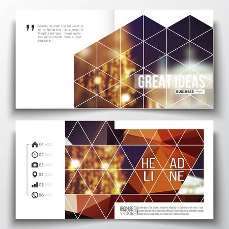 booklet design: Set of annual report business templates for brochure, magazine, flyer or booklet. Colorful polygonal background, blurred image, night city landscape, festive cityscape, triangular vector texture. Illustration