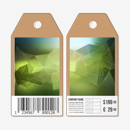 Vector tags design on both sides, cardboard sale labels with barcode. Polygonal design, geometric triangular backgrounds.
