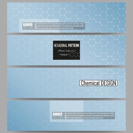 scientific research: Set of modern vector banners. Chemistry pattern, hexagonal design vector illustration
