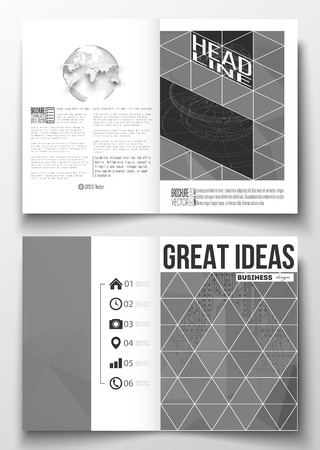 circuitos electricos: Set of business templates for brochure, magazine, flyer, booklet or annual report. Microchip background, electrical circuits, construction with connected lines, scientific or digital design template Vectores