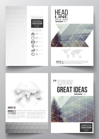 minimalistic: Set of business templates for brochure, magazine, flyer, booklet or annual report. Abstract colorful polygonal background, modern stylish triangle vector texture.