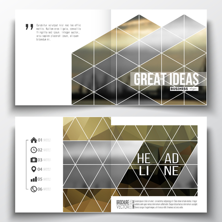 shipyard: Vector set of square design brochure template. Colorful polygonal background with blurred image, seaport landscape, modern stylish triangular vector texture.