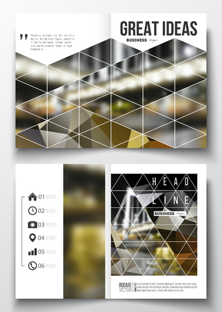 night city: Set of business templates for brochure, magazine, flyer, booklet or annual report. Colorful polygonal background, blurred image, night city landscape, modern stylish triangular vector texture.