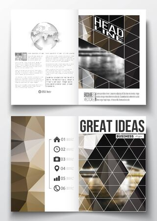 half globe: Set of business templates for brochure, magazine, flyer, booklet or annual report. Colorful polygonal background, blurred image, night city landscape, modern stylish triangular vector texture.