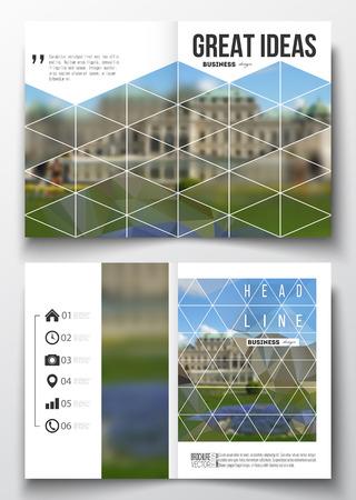 Conjunto de modelos de negocio para el folleto, revista, folleto, folleto o informe anual. fondo poligonal, imagen borrosa, parque natural, moderno estilo vector de textura. Foto de archivo - 61737739