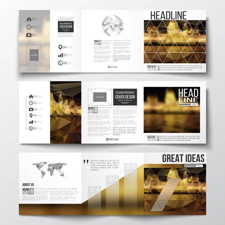 night city: Vector set of tri-fold brochures, square design templates with element of world map and globe. Colorful polygonal background, blurred image, night city landscape, triangular vector texture.