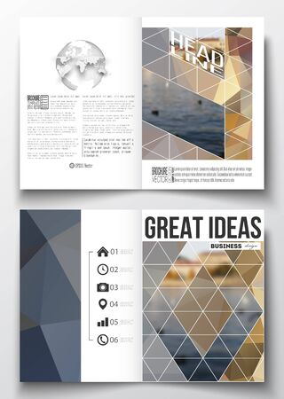 half globe: Set of business templates for brochure, magazine, flyer, booklet or annual report. Polygonal background, blurred image, urban landscape, cityscape, modern stylish triangular vector texture. Illustration