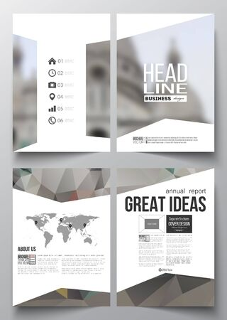 montmartre: Set of business templates for brochure, magazine, flyer, booklet or annual report. Polygonal background, blurred image, view of cathedral Sakre-Ker, Paris cityscape, modern triangular vector texture.