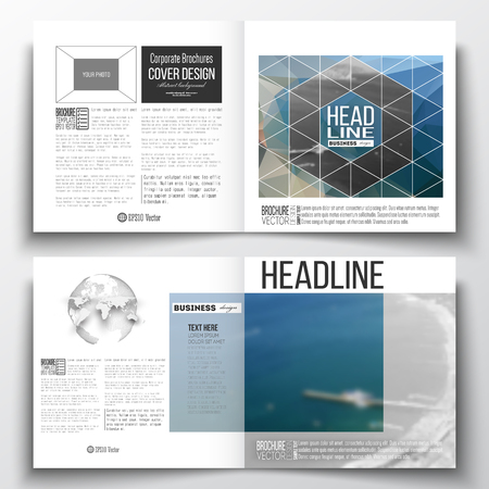 half globe: Set of annual report business templates for brochure, magazine, flyer or booklet. Colorful polygonal backdrop, blurred background, sea landscape, modern triangle vector texture.