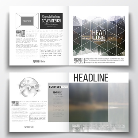 half globe: Set of annual report business templates for brochure, magazine, flyer or booklet. Colorful polygonal backdrop, blurred natural background, modern stylish triangle vector texture.