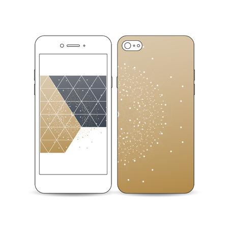 Mobile-smartphone met een voorbeeld van het scherm en cover ontwerp op wit wordt geïsoleerd. Veelhoekige achtergrond met het aansluiten van stippen en lijnen, gouden achtergrond, aansluiting structuur. digitale vector Stock Illustratie