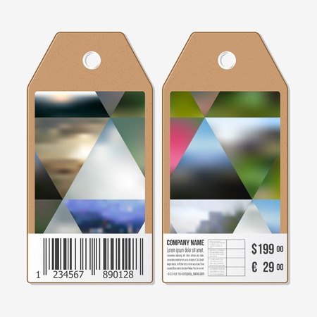 Vector tags design on both sides, cardboard sale labels with barcode. Abstract multicolored background, blurred nature landscapes, geometric vector, triangular style illustration. Illustration