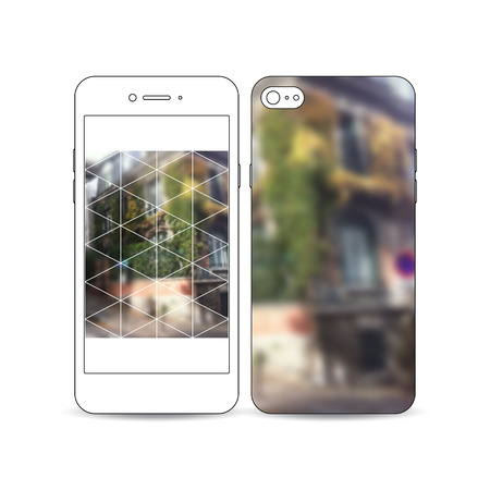 montmartre: Mobile smartphone with an example of the screen and cover design isolated on white background. Polygonal background, blurred image, urban landscape, street in Montmartre, Paris cityscape Illustration