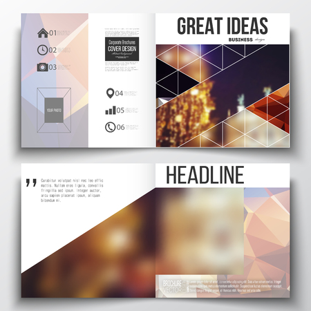 night city: Set of annual report business templates for brochure, magazine, flyer or booklet. Colorful polygonal background, blurred image, night city landscape, festive cityscape, triangular vector texture. Illustration