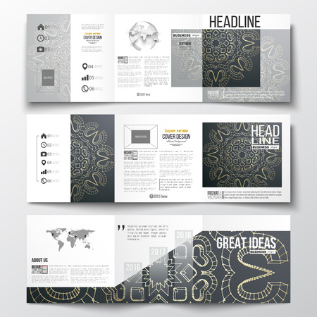 golden globe: Set of tri-fold brochures, square design templates with element of world map and globe. Polygonal backdrop with golden connecting dots and lines, connection structure. Digital scientific background