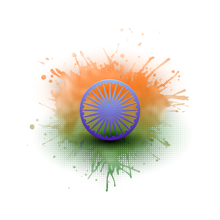 Background for Happy Indian Independence Day celebration with Ashoka wheel and national flag colors, vector illustration. Illustration