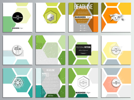 Set of 12 creative cards, square brochure template design. Abstract colorful business background, modern stylish hexagonal vector texture.