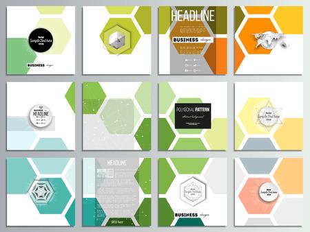 Set van 12 creatieve kaarten, vierkante brochure sjabloonontwerp. Abstracte kleurrijke bedrijfsachtergrond, moderne modieuze hexagonale vectortextuur.