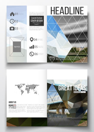 urban scene: Set of business templates for brochure, magazine, flyer, booklet or annual report. Colorful polygonal background, blurred image, urban scene, modern stylish triangular vector texture.