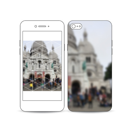 montmartre: Mobile smartphone with an example of the screen and cover design isolated on white background. Blurred image, view of cathedral Sakre-Ker, Paris cityscape, modern vector texture