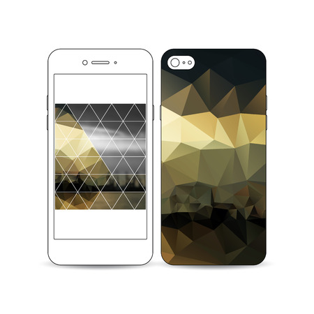 shipyard: Mobile smartphone with an example of the screen and cover design isolated on white background. Colorful polygonal background with blurred image, seaport landscape, modern triangular vector texture.